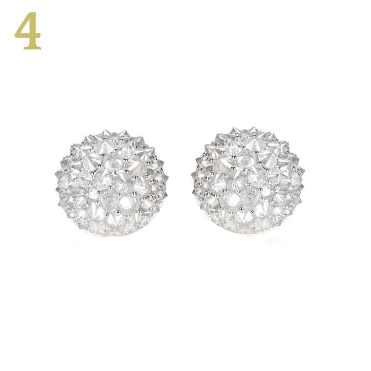 Nam Cho white gold ice diamond studs
