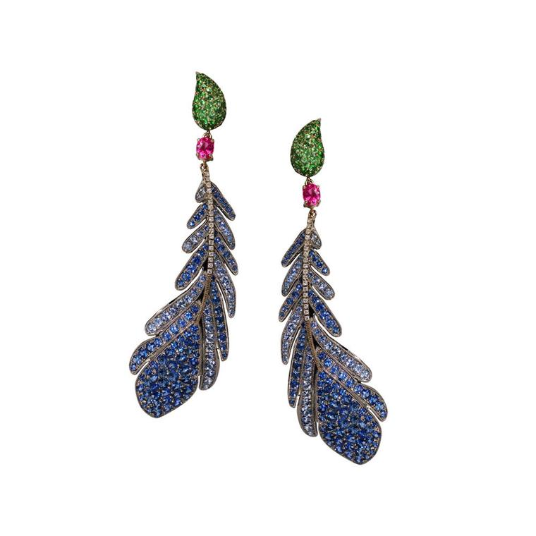 Nisan Ongwuthitham for Plukka blue sapphire and titanium Feather earrings