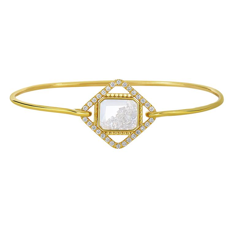 Moritz Glik diamond and white sapphire bracelet in yellow gold