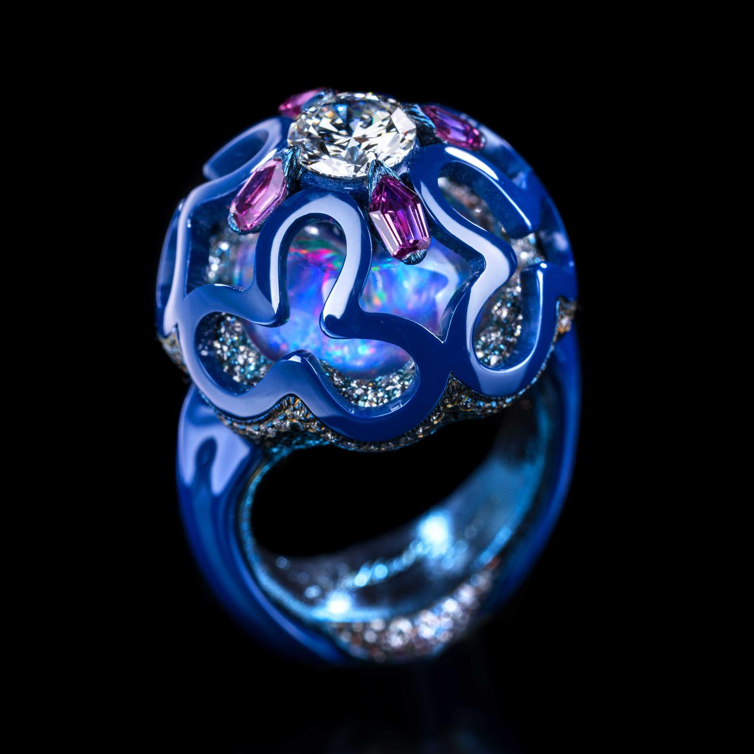 Wallace Chan Dream Planet porcelain and opal ring