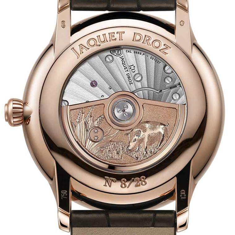 Back of Jaquet Droz Year of Pig watch