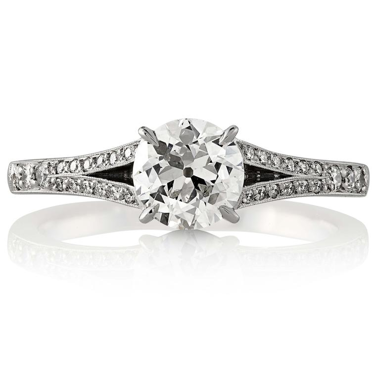 Old European brilliant cut diamond engagement ring