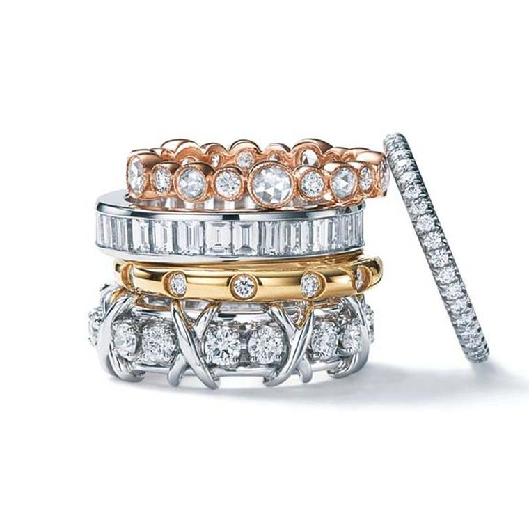 Tiffany Jazz ring in 18k rose gold, Channel-set in platinum; Tiffany Bezet in 18k gold; Tiffany & Co. Schlumberger Sixteen Stone in platinum; and Tiffany Soleste in platinum.
