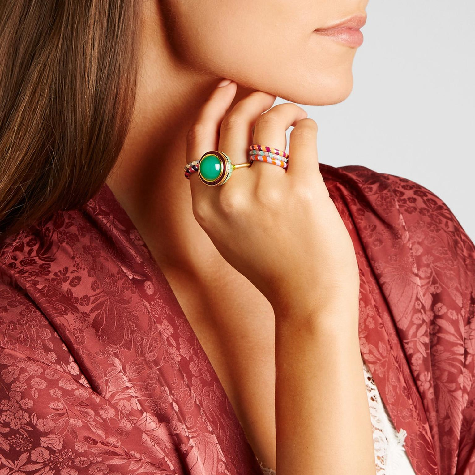 Alice Cicolini enamel and chrysoprase ring