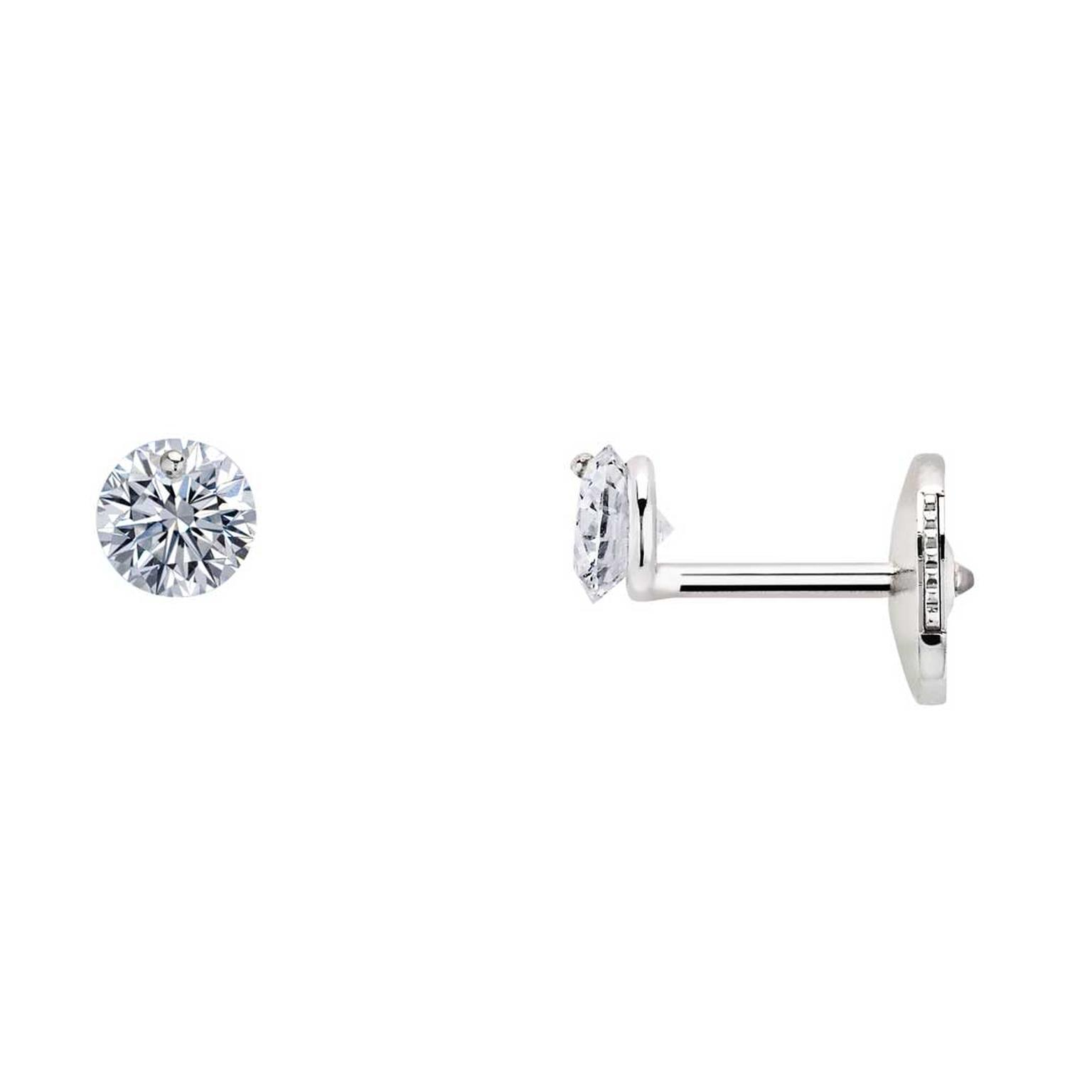 La Brune & La Blonde 360° studs with brilliant-cut diamonds in white gold
