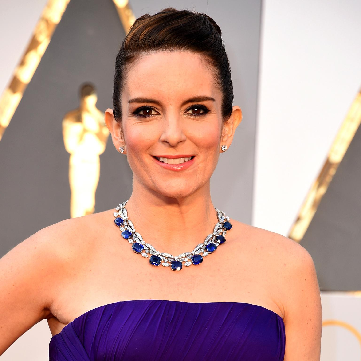 Tina Fey in a Bulgari sapphire and diamond necklace