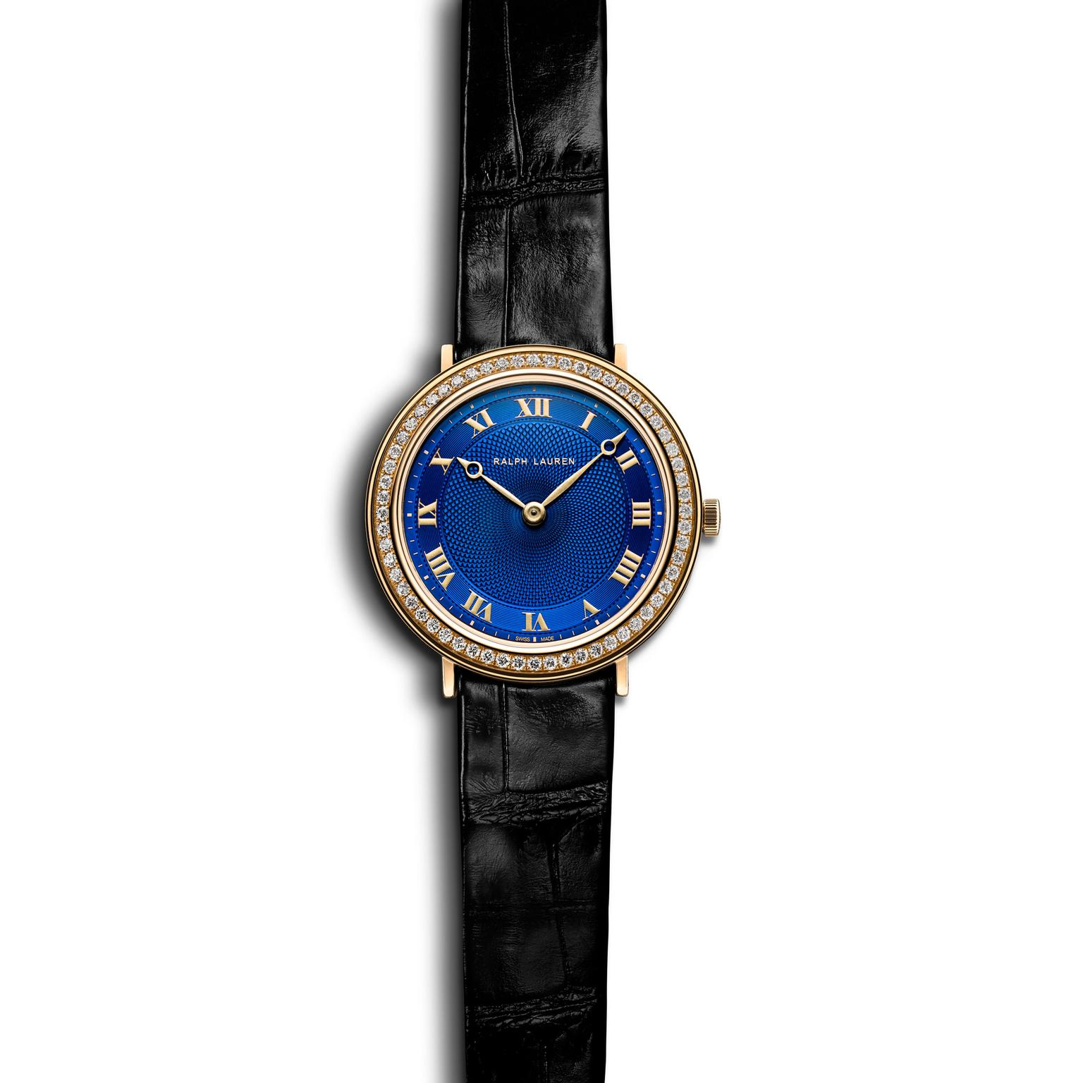 Ralph Lauren 32mm slim classique watch blue dial diamonds