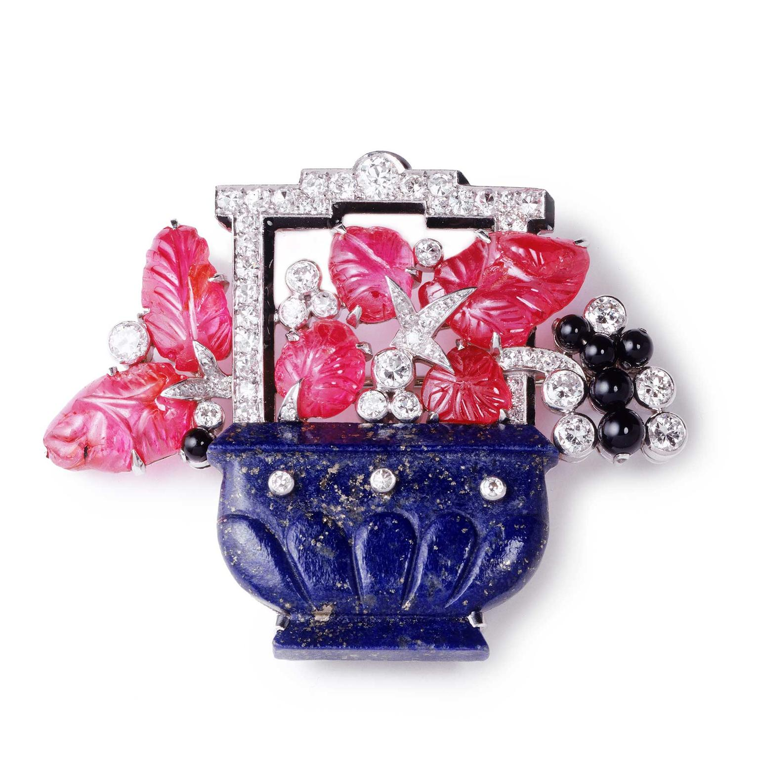 Cartier Collection lapis lazuli Chinese vase brooch, 1927