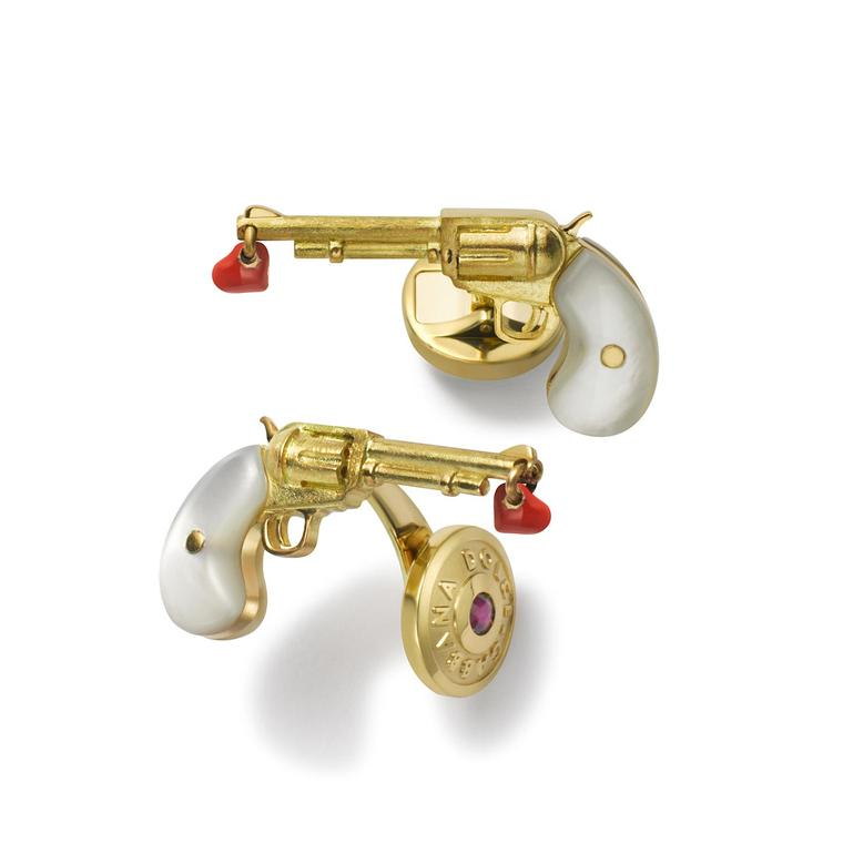 Pistol cufflinks with red enamel heart