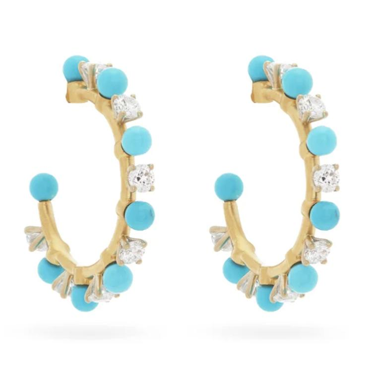 Turquoise and diamond hoops by Irene Neuwirth
