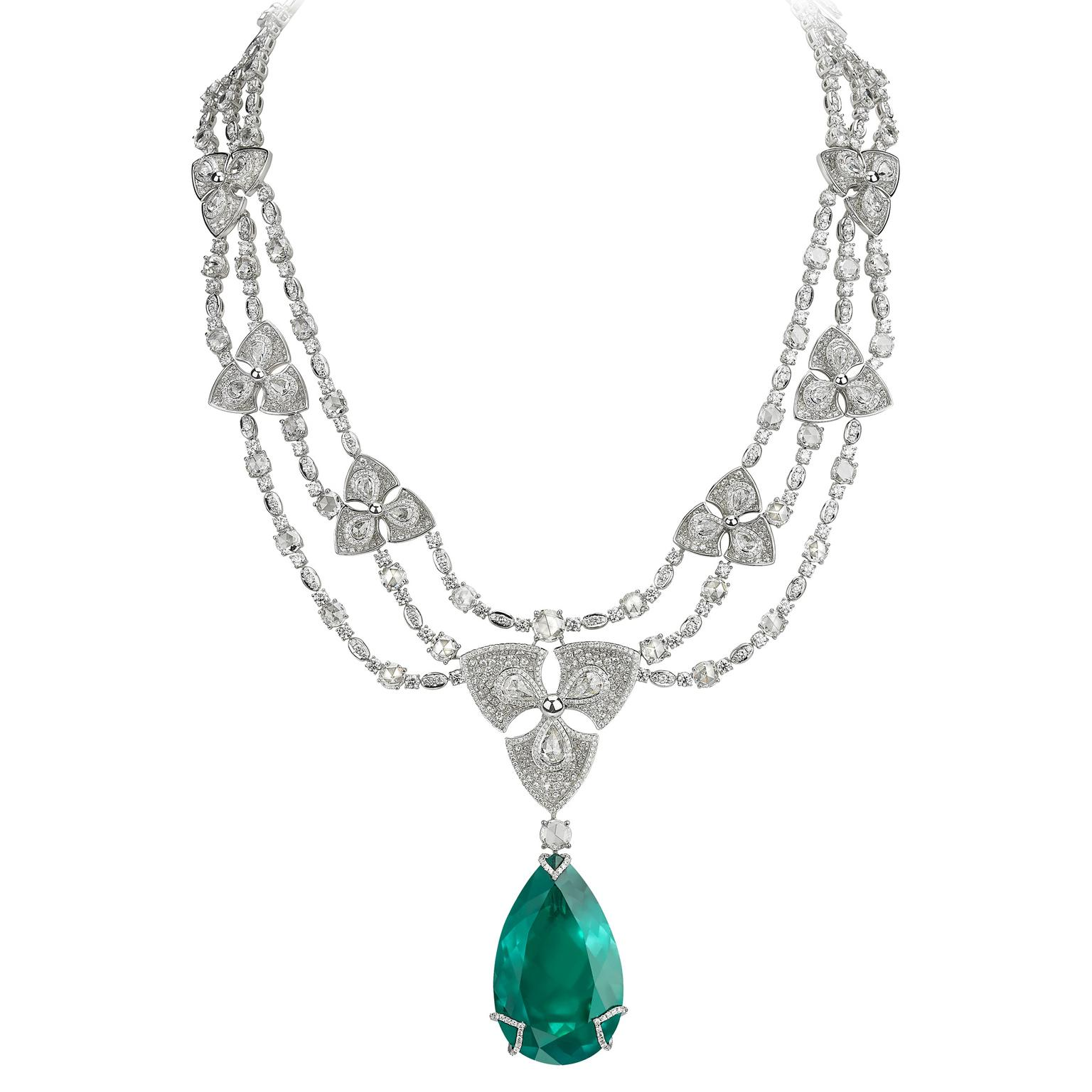 One-of-a-kind Avakian emerald necklace with spinning flower