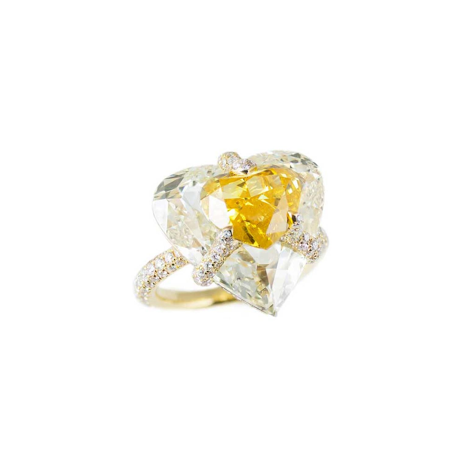 Boghossian Fancy Vivid orangey yellow diamond engagement ring