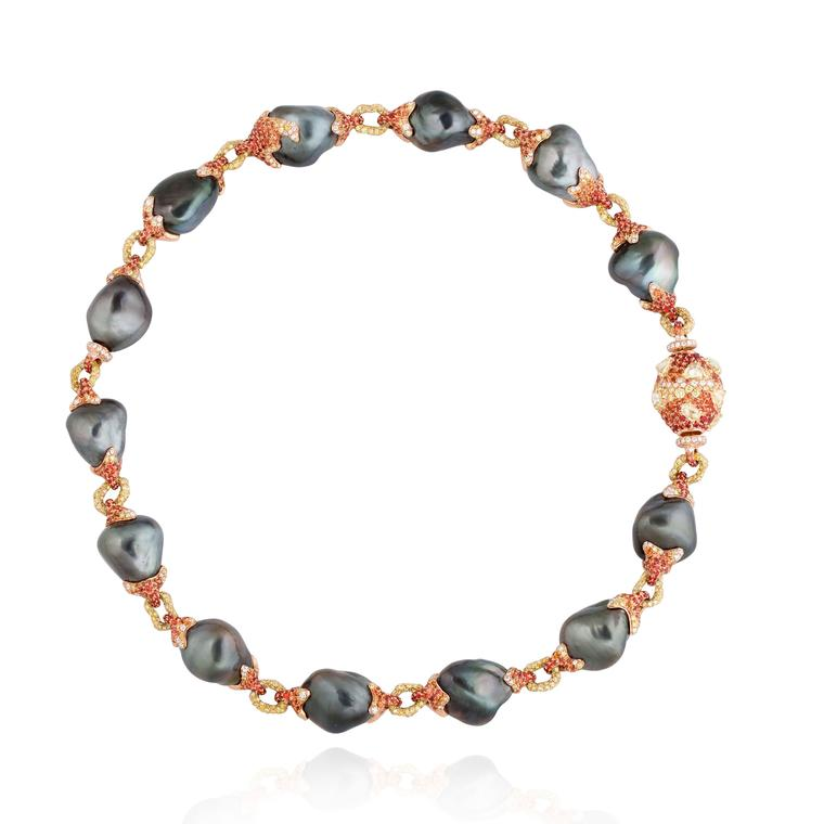 Black pearls Alessio Boschi Volcano pearl necklace with sapphires