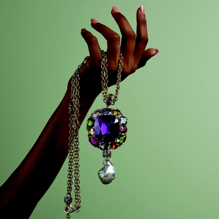 Margot McKinney pendant with an amethyst and a myriad of gemstones
