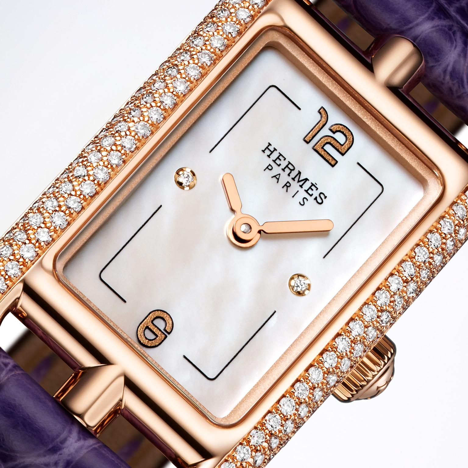 Hermes Nantucket watch in rose gold with diamonds