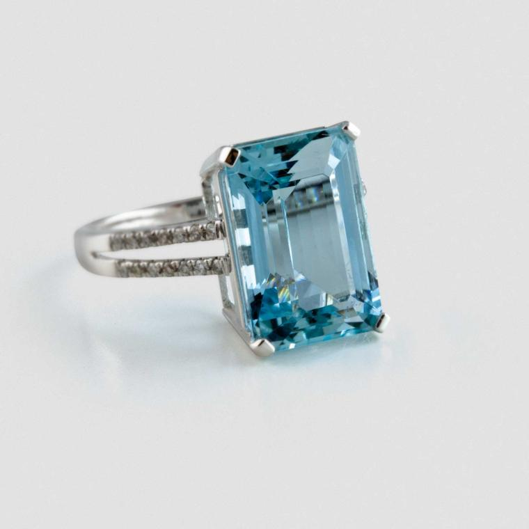 David Jerome Collection aquamarine and diamond-set ring
