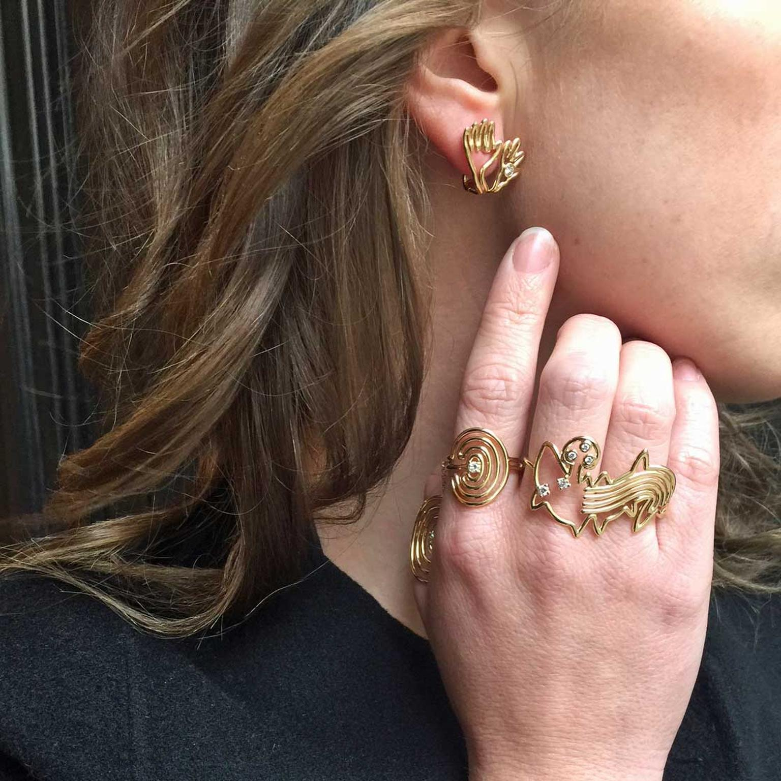Lydia Courteille Nazca rings and earrings