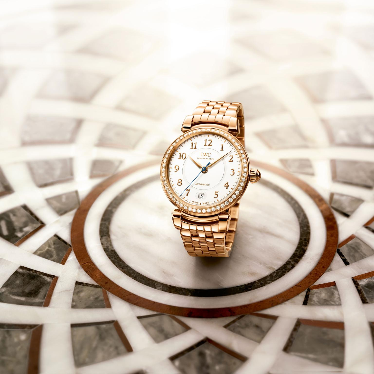 IWC Da Vinci automatic red gold watch for women with diamonds on the flower of life motif