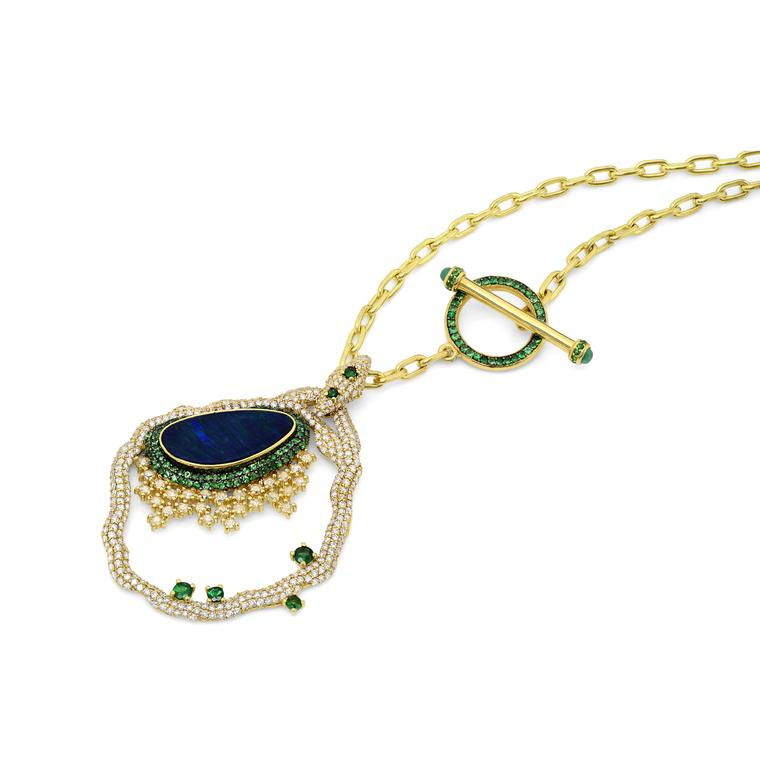 Baia Verde black opal necklace with tsavorites and diamonds