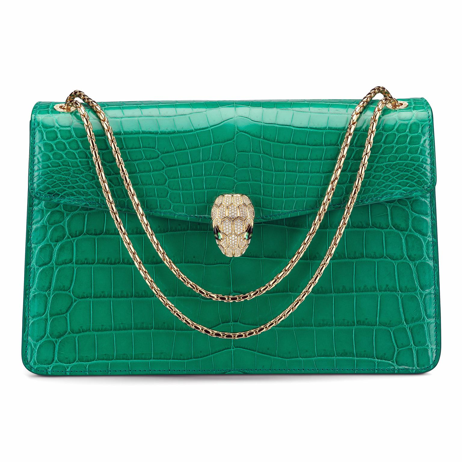 Bulgari Serpenti Forever emerald green crocodile skin handbag