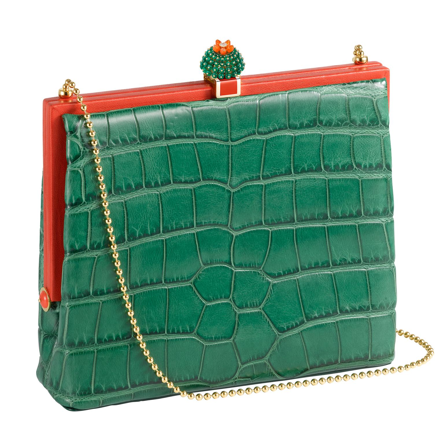 Green alligator Cactus de Cartier handbag