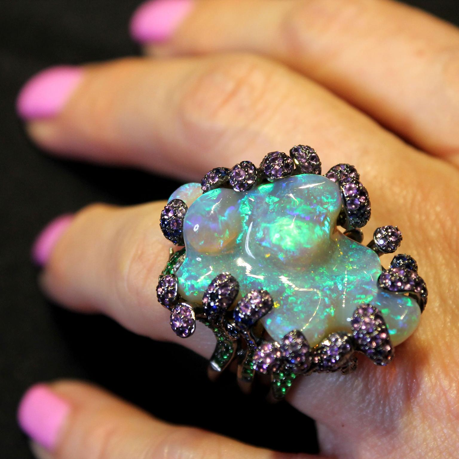 Lydia Courteille Deep Sea baroque opall ring