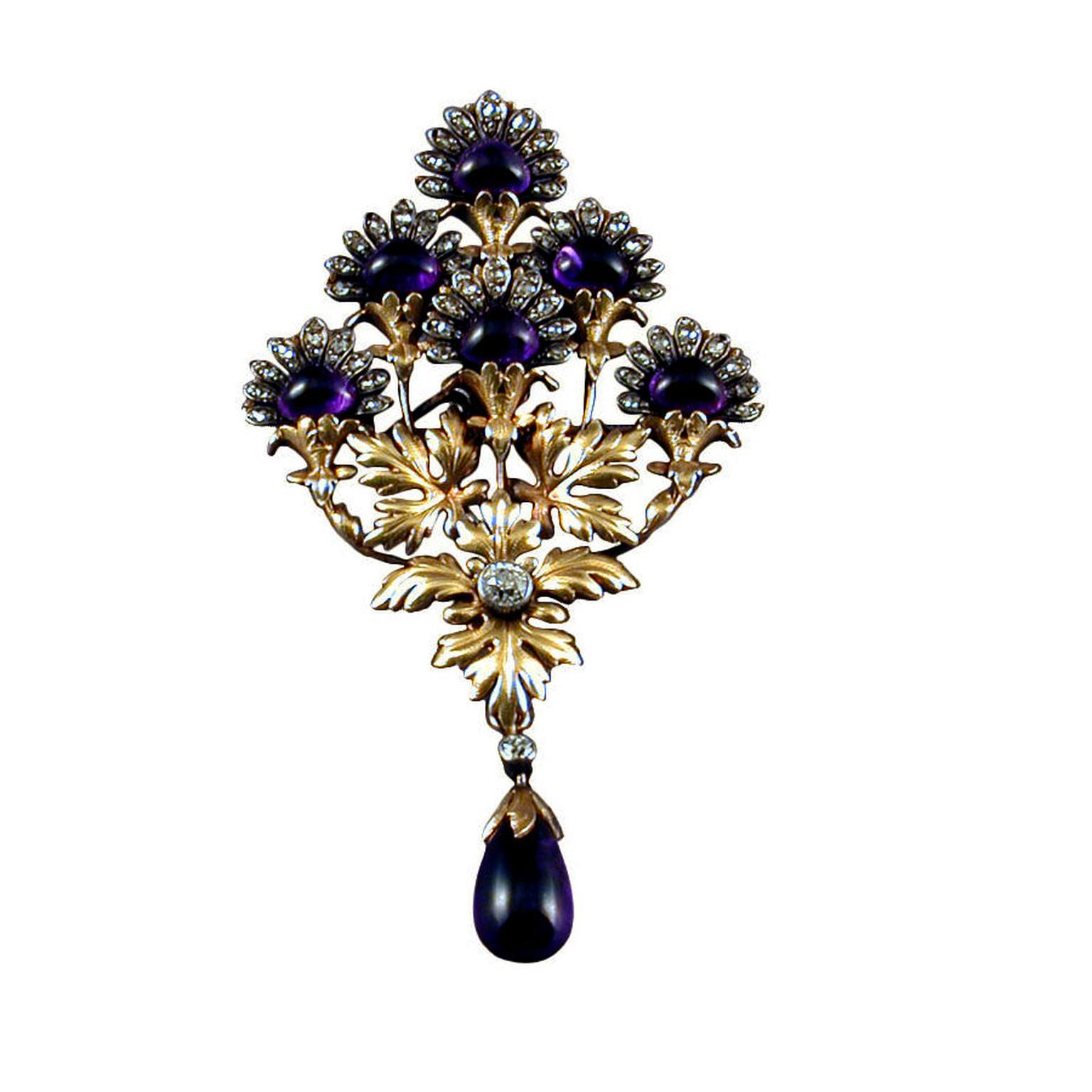 James Robinson gold, amethyst and diamond brooch