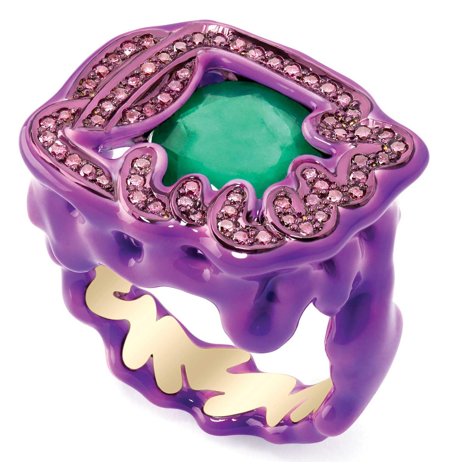 Solange Azagury Partridge Green and Purple ring