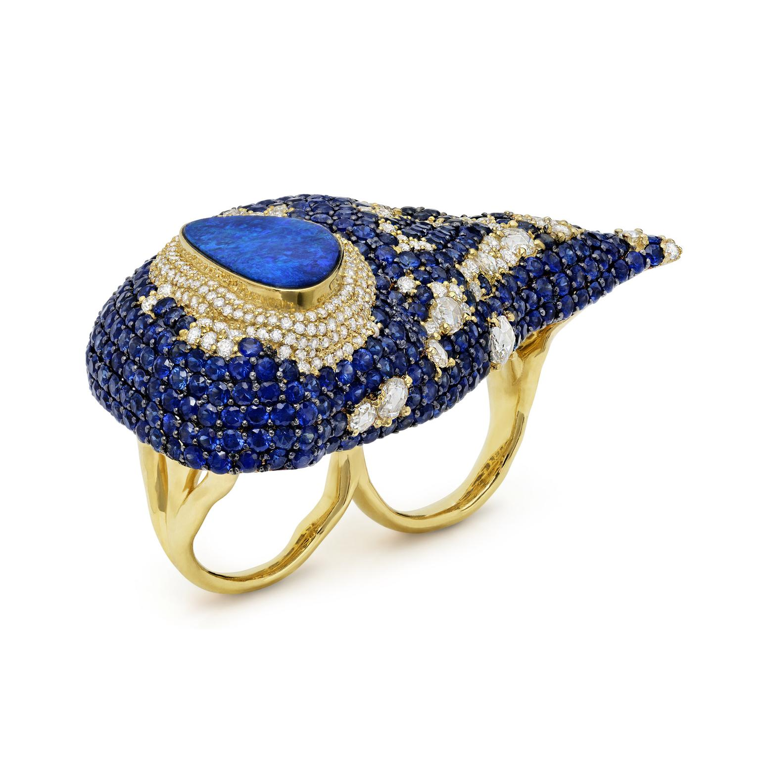 Michael John opal and sapphire two-finger ring