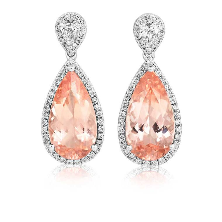Sheldon Bloomfield earrings in white gold with morganite and diamonds