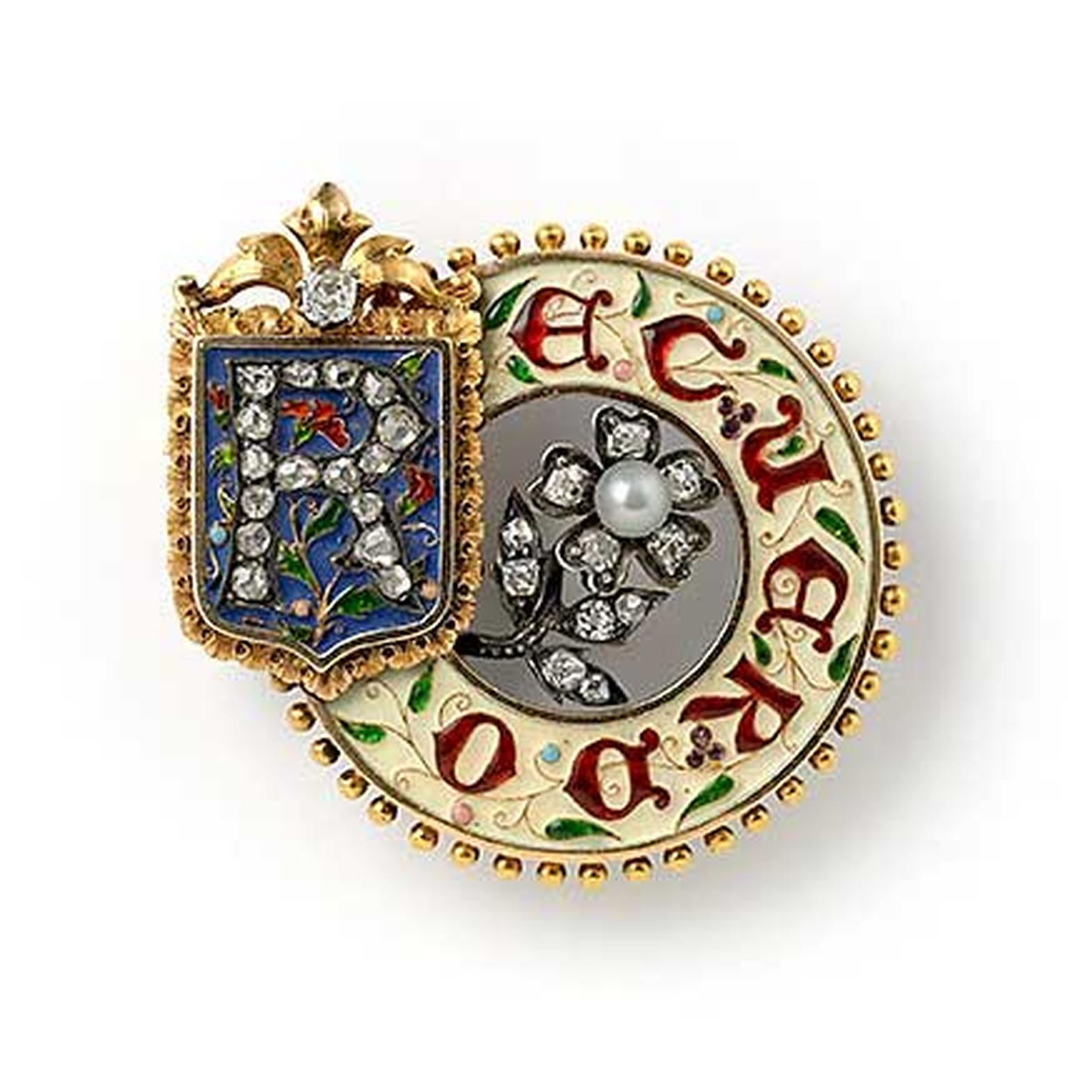 Lucien Falize circle memento brooch