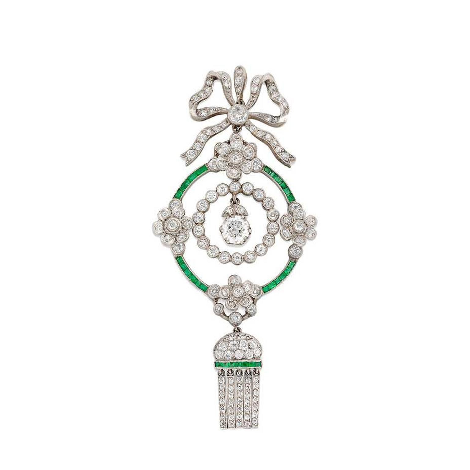 Bentley & Skinner Edwardian diamond and emerald pendant