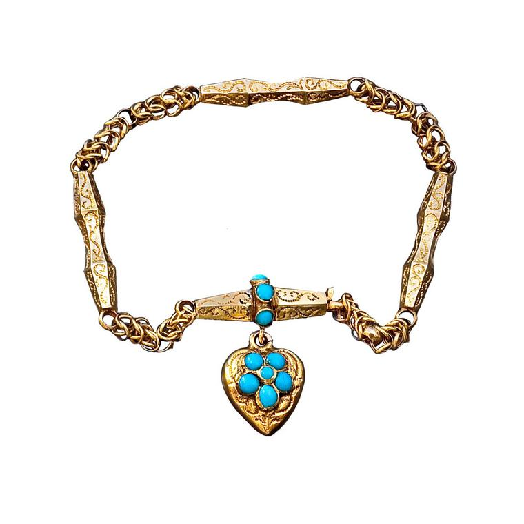 Romanov Russia forget-me-not turquoise floral heart bracelet