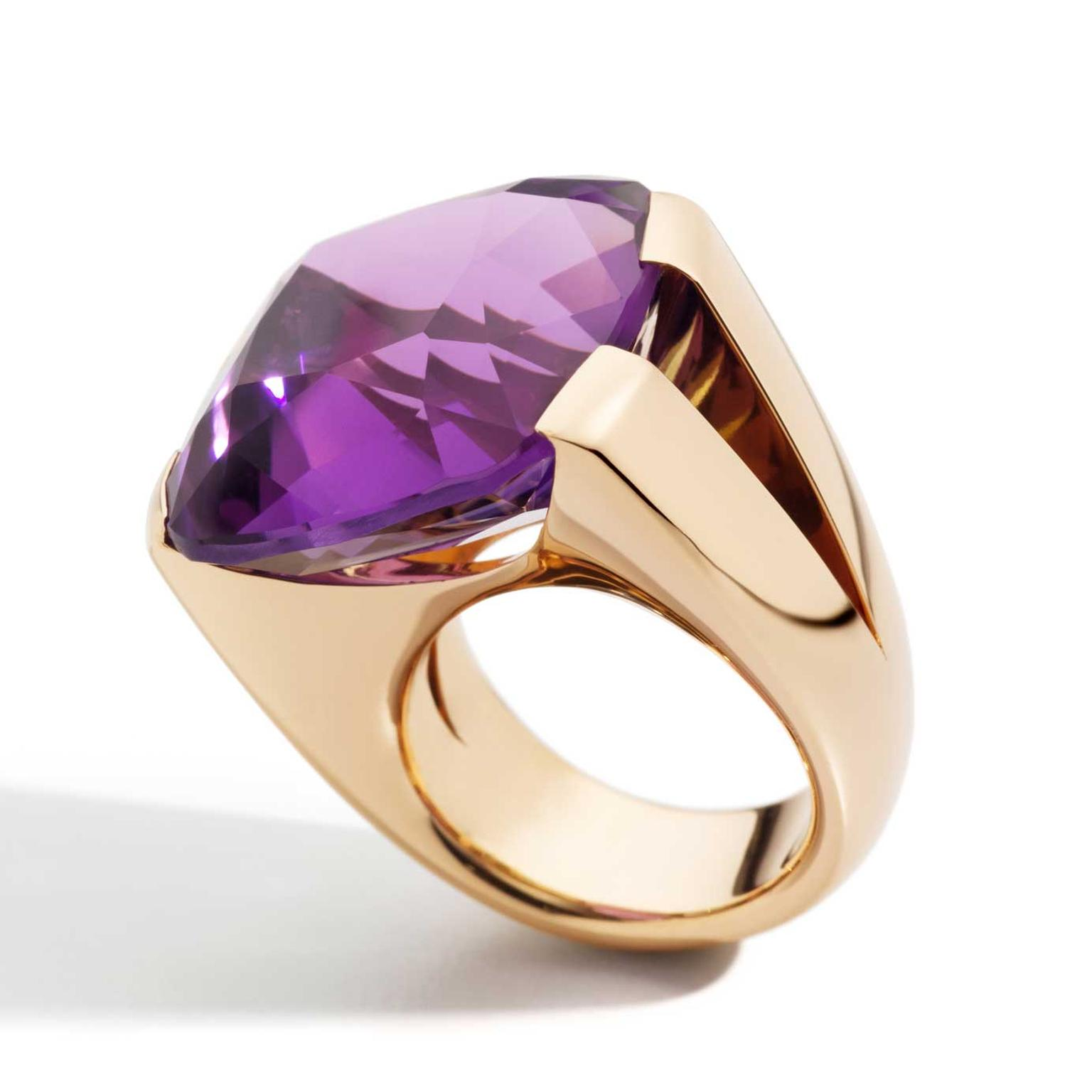 Vhernier Cuscino amethyst ring in rose gold
