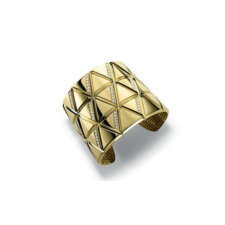 Triangoli by Marina B gold and diamond triple row cuff