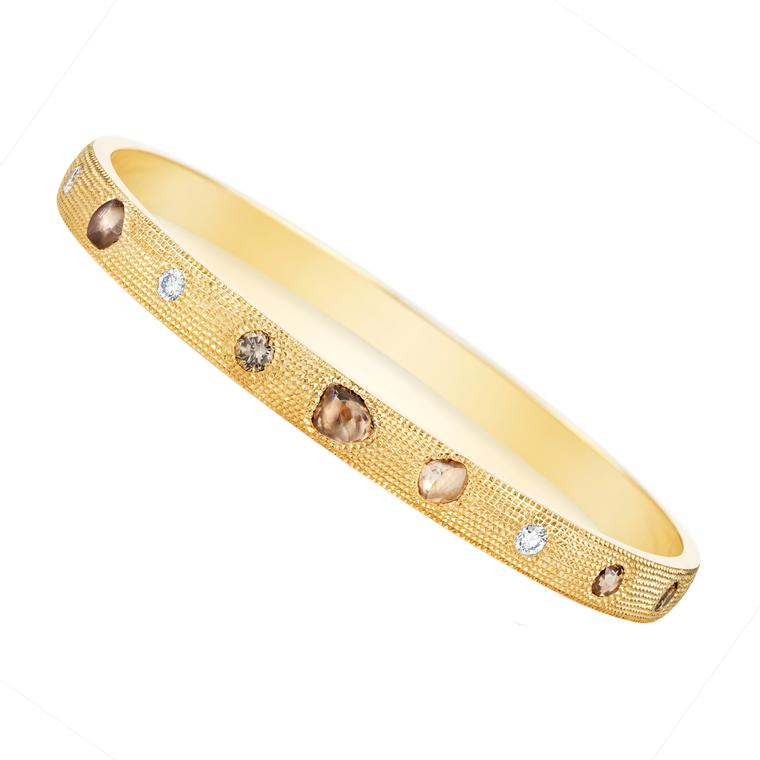Talisman rough and polished diamond bangle