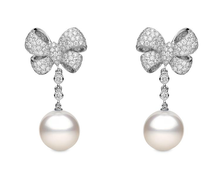 YOKO London pearl bow earrings