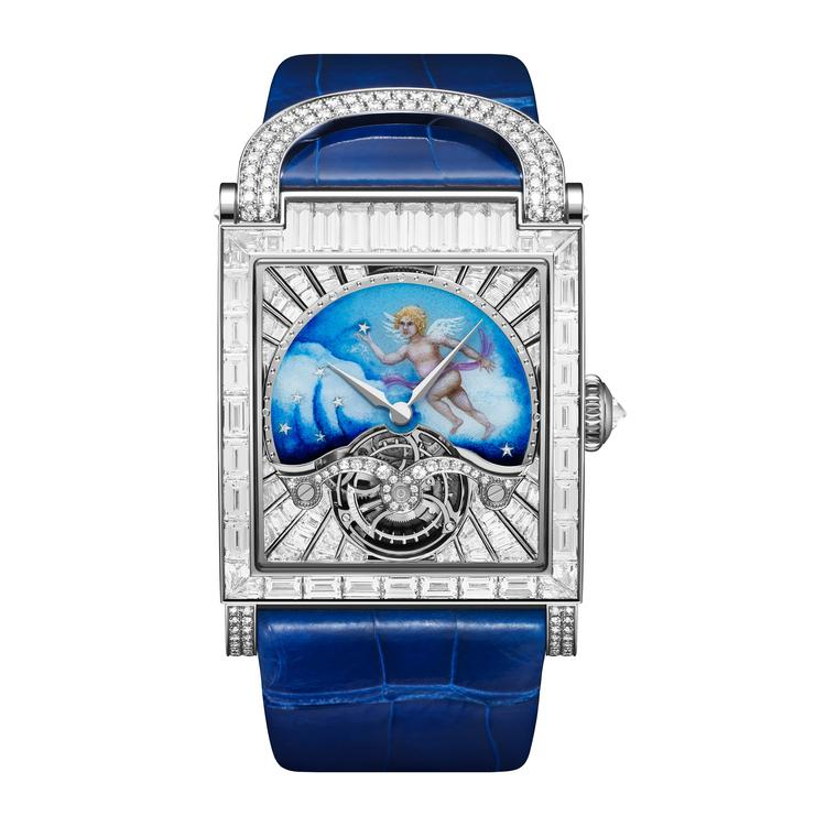 Guardian Angel enamelled tourbillon watch with diamonds