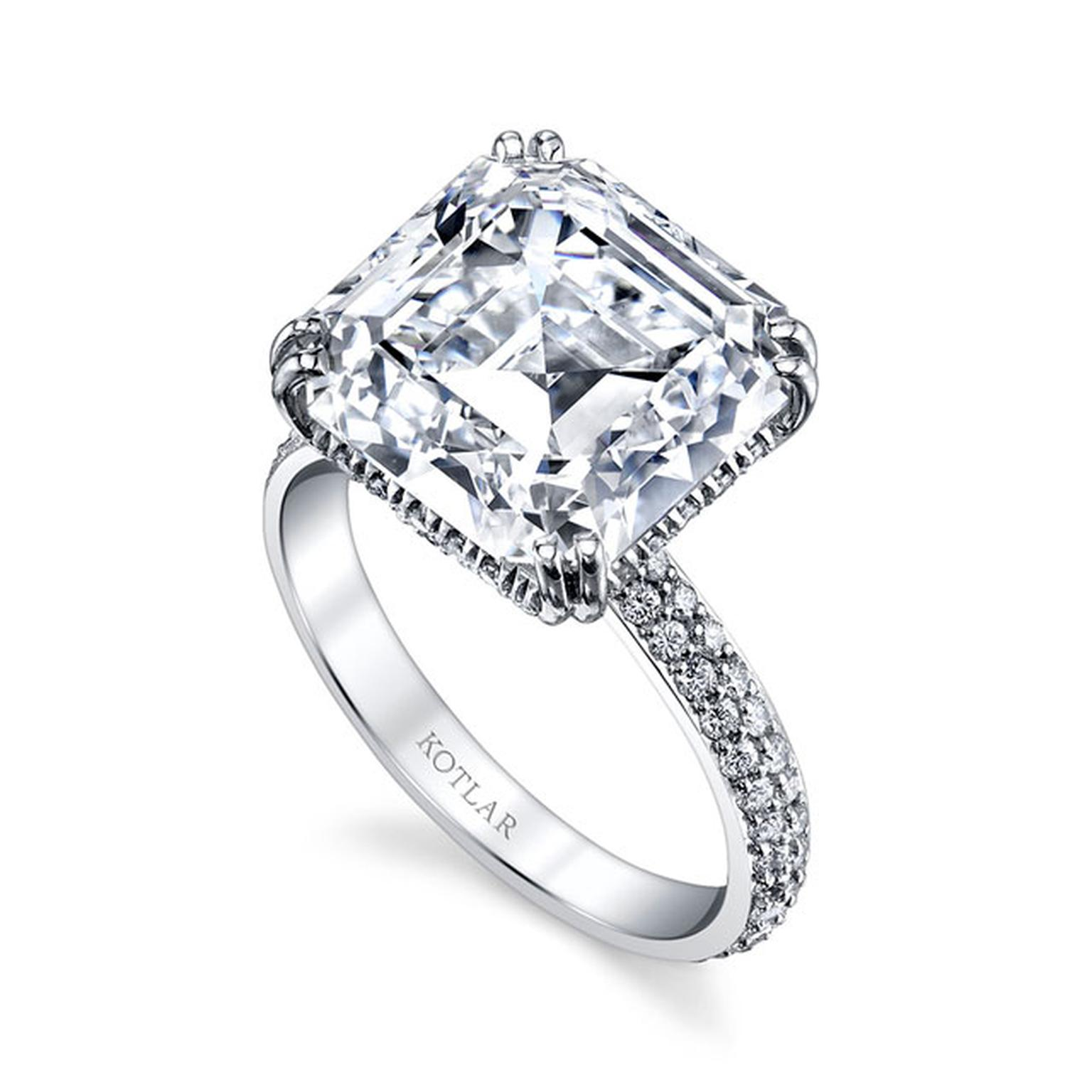Harry Kotlar 8.81-carat Asscher cut diamond engagement ring