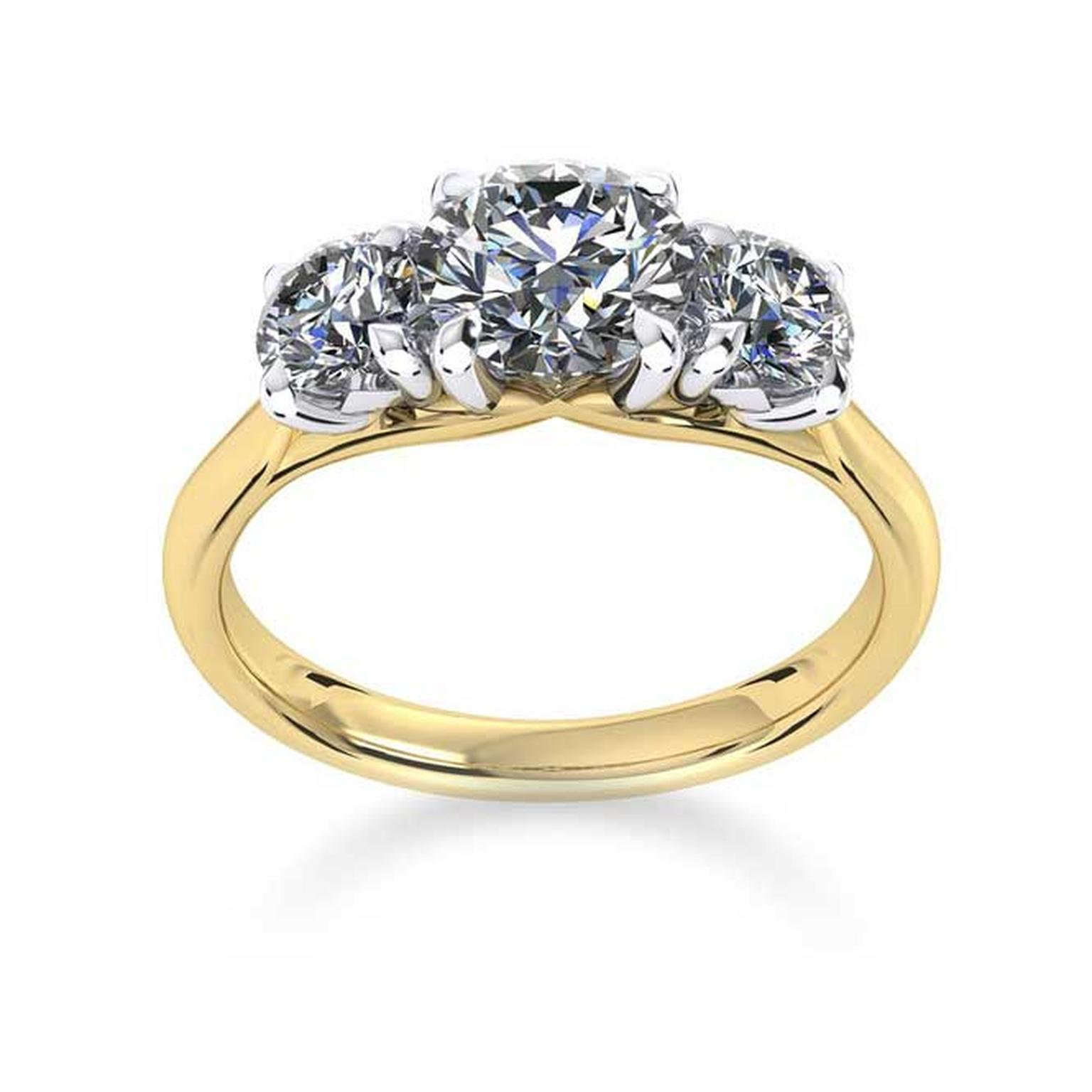 Mappin & Webb Ena Harkness three stone engagement ring