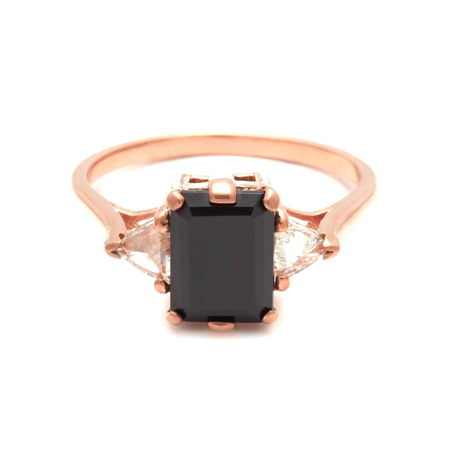 Anna Sheffield Bea ring with an emerald-cut black diamond