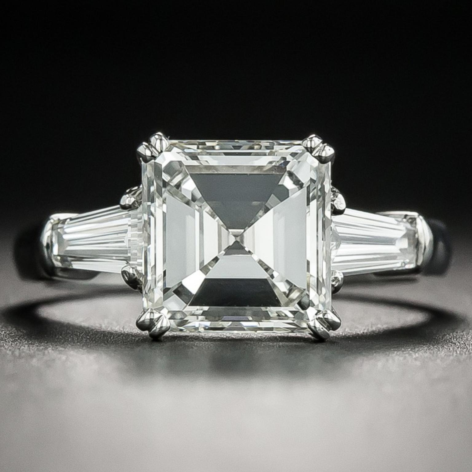 Emerald cut diamond engagement ring sold by Lang Antiques