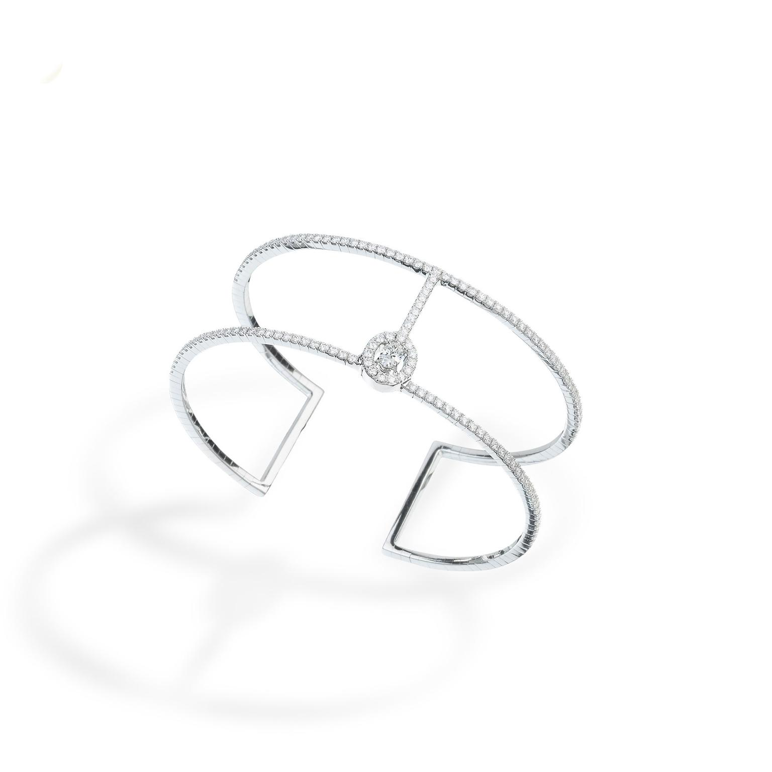 Messika Glam Azone white gold diamond cuff