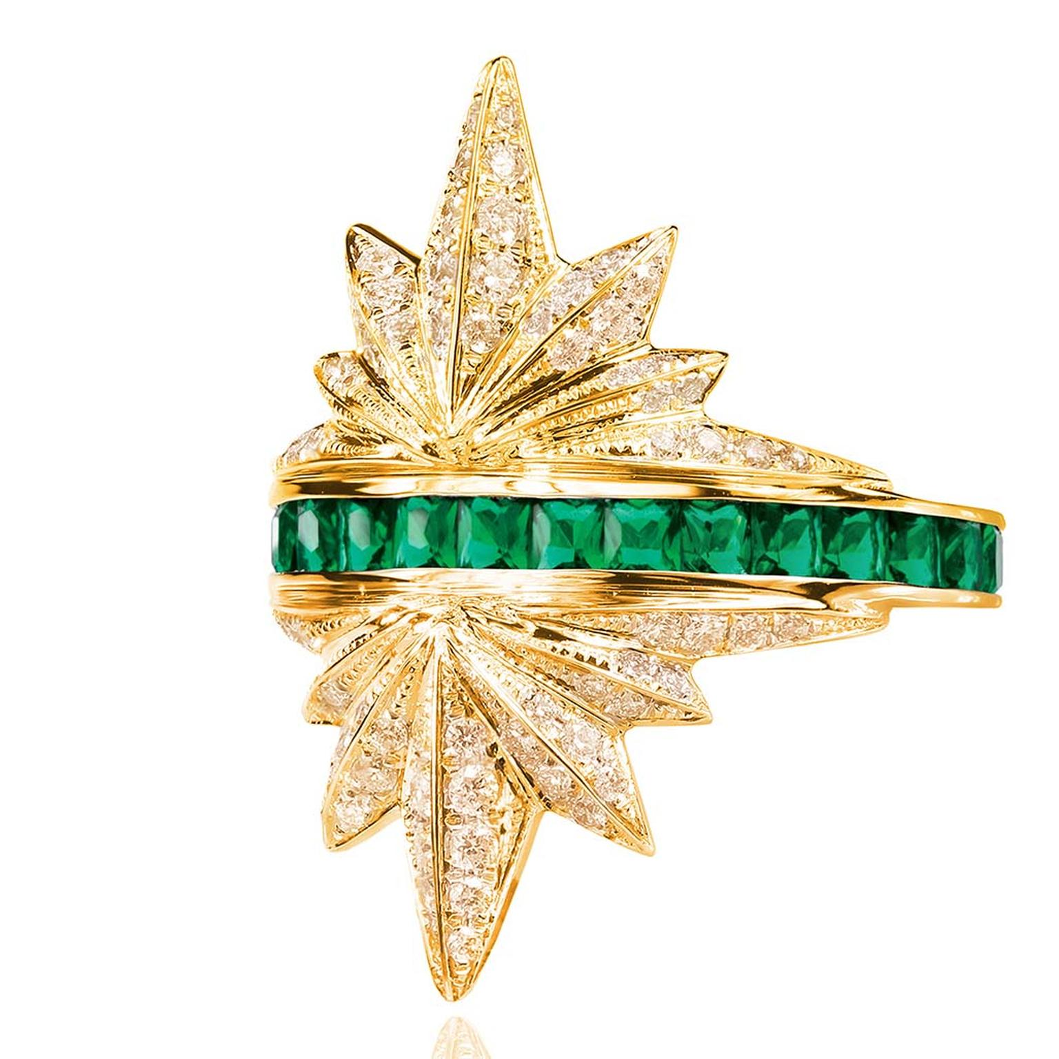 Melville Fine Jewellery_E_Rising Sun collection - Prism ring in diamond & emerald