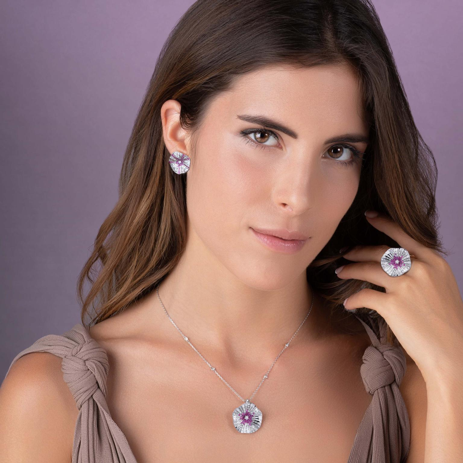 Stenzhorn Belle pink sapphire and white diamond ring, necklace and earrings on model