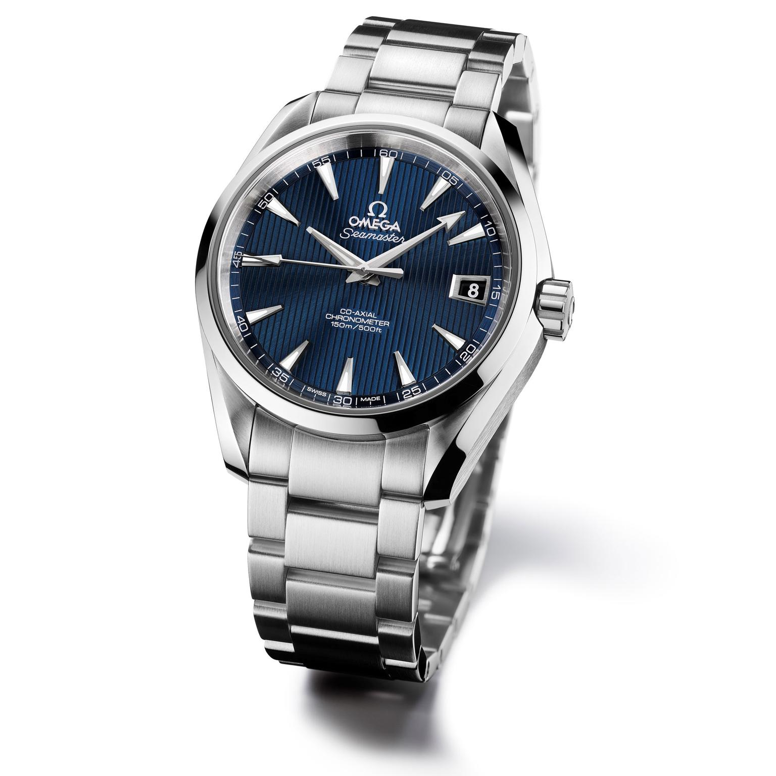 The Omega Aqua Terra, the other Omega timepiece to appear in SkyFall, features a blue dial, the first time this colour face had appeared on an Aqua Terra.