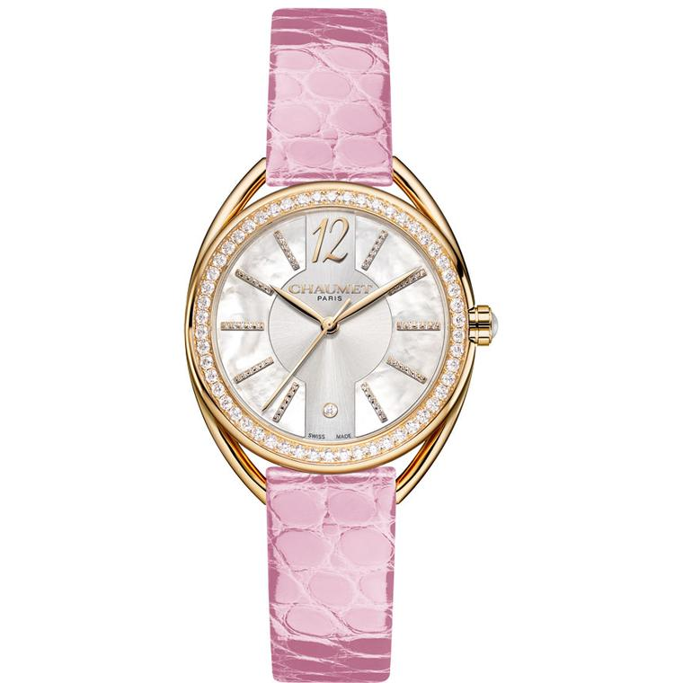 Chaumet Liens Lumière  27mm watch in yellow gold with pink alligator strap