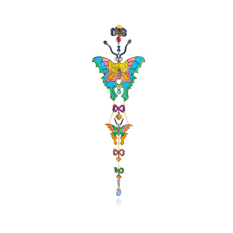Lydia Courteille Kite collection single enamel and gemstone earring