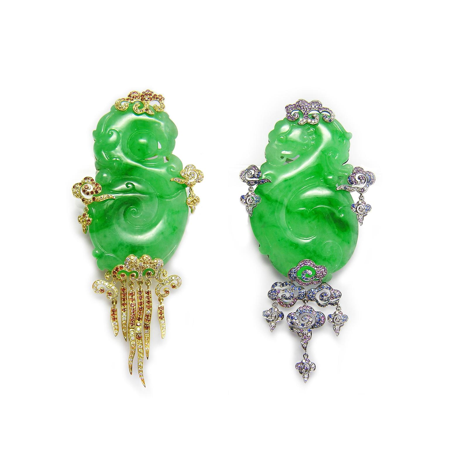 Fei Liu Cloud Wind jadeite earrings