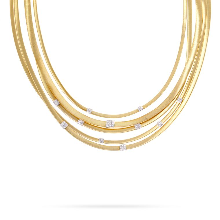 Five strand yellow gold Masai necklace with diamonds